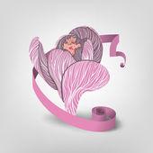 粉红色的花,用丝带 — 图库矢量图片
