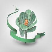 Green flower with ribbon — Stockvector