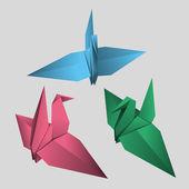 Paper origami birds — Vector de stock