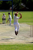Young man bowling cricket ball — Stock Photo