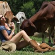 Beautiful lady with the cows — Stock Photo #24511201