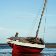 Red and White Sailing boat stranded at low tide in ocean Mozambi — Stock Photo