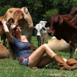 Blonde cow girl sitting between heifers — Stock Photo