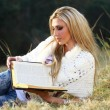 Blonde lady reading Bible — Stock Photo #25751515