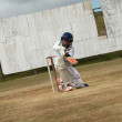Stock Photo: Boy practising risky cricket shot