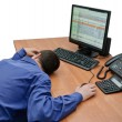 Stock Photo: Man asleep at the computer
