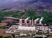 Fossil fuel power plant, aerial view — Stock Photo