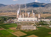 Fosil fuel power plant, aerial view — Stock Photo