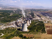 Power plant and surface mine aerial view — Stock Photo