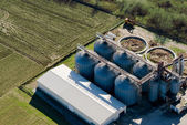 Tower silos and storage facility, aerial view — Stock Photo