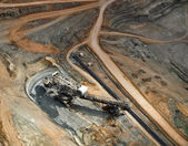 Large excavator in surface coal mine, aerial view — Stock Photo