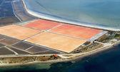 Salt evaporation ponds, aerial view — Stock Photo