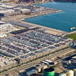 New cars, port of Barcelona, Spain, aerial view — Stock Photo #24263605