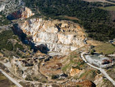 Abandoned stone quarry, aerial view — Stock Photo