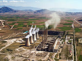 Fossil fuel power plant in operation, aerial view — Stock Photo