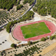 Rural athletic center, aerial view. - Stock Photo