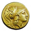 Ancient Greek gold coin - Stock Photo