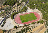 Rural athletic center, aerial view. — Stock Photo