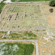 Aerial view of excavations on ancient city - Stock Photo