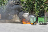 Wheeled Waste container, set on fire. — Stock Photo
