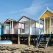 Colorful Beach Huts at Southend on Sea, Essex, UK. - Stock Photo