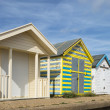 Stock Photo: Colorful Beach Huts at Chapel St Leonards, Lincolnshire, UK.