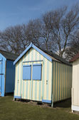 Colorful Beach Huts at Old Felixstowe — Stock Photo