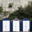 Blue and White Beach Huts at Beer — Stock Photo