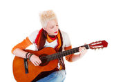 Woman with a guitar. — Stock Photo