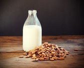 Almond milk in bottle with almonds — Stock Photo