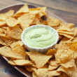 A plate of chips and guacamole — Stock Photo