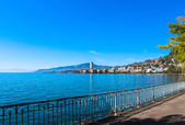 View on Montreux coastline from Geneva lake, Switzerland. — Stock Photo