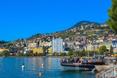 View on Montreux coastline from Geneva lake, Switzerland. — Stock Photo