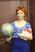 Girl holding a world globe — Stock Photo