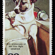 Postage stamp with the image of the dog — Stock Photo