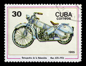 Postage stamp with the image of an old motorcycle — Stock Photo