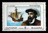 Postage stamp with a picture of Vasco da Gama — 图库照片