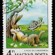 Postage stamp shows hare and tortoise — Stock Photo #25966713