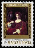 """Postage stamp shows a picture Raffaello Santi """"Giovanna d'aragon — Stock fotografie"""