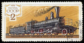 USSR - CIRCA 1979: stamp printed by USSR, shows steam train, cir — Stock Photo