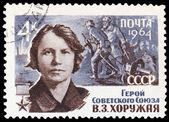 USSR - CIRCA 1964: stamp printed by USSR, shows the hero of the — Stock Photo
