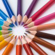 Color pencils composition on white background — Stock Photo