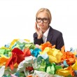 Tired attractive blond secretary with a lot of papers — Stock Photo