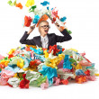 Tired attractive blond secretary with lot of papers — Stock Photo #27180645