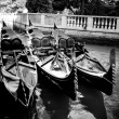 Venice, Italy. Gondolas on the Grand Canal — Stock Photo
