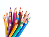 Color pencils bunch on white background — Stock Photo