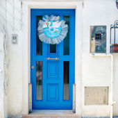 Italy. Burano. Blue door. — Stock Photo