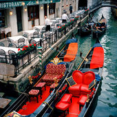 Venice, Italy. Festive Gondolas — Stock Photo