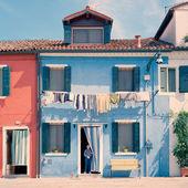 Italy. Burano. Blue house. — Stock Photo