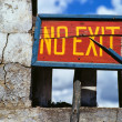 "Stock Photo: Himalaya. Tibet. Bhutan. ""No exit"" plate."